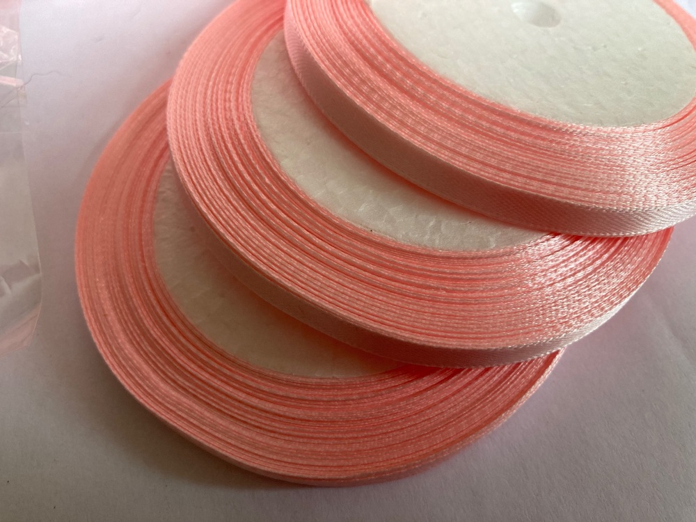 Pink - Pale  Single Satin Ribbon 6mm FULL ROLL 25 yards/22+metres