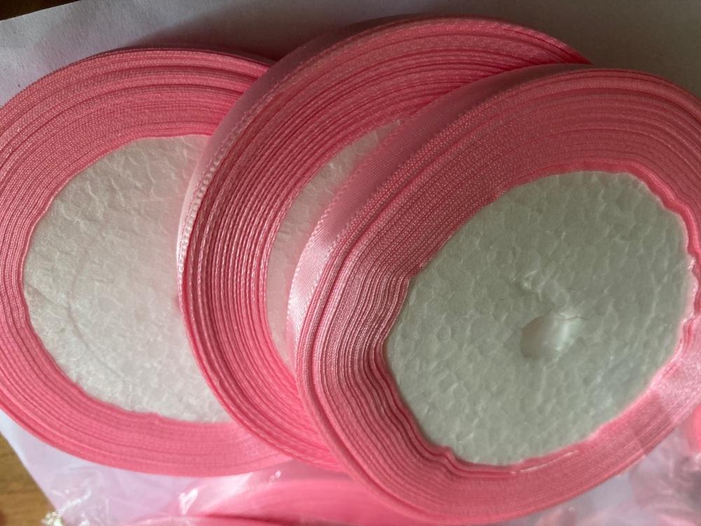 Pink Single Satin Ribbon 10mm FULL ROLL 25 yards/22+metres