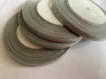 Silver Glitter  Ribbon 10mm FULL ROLL 25 yards/22+metres