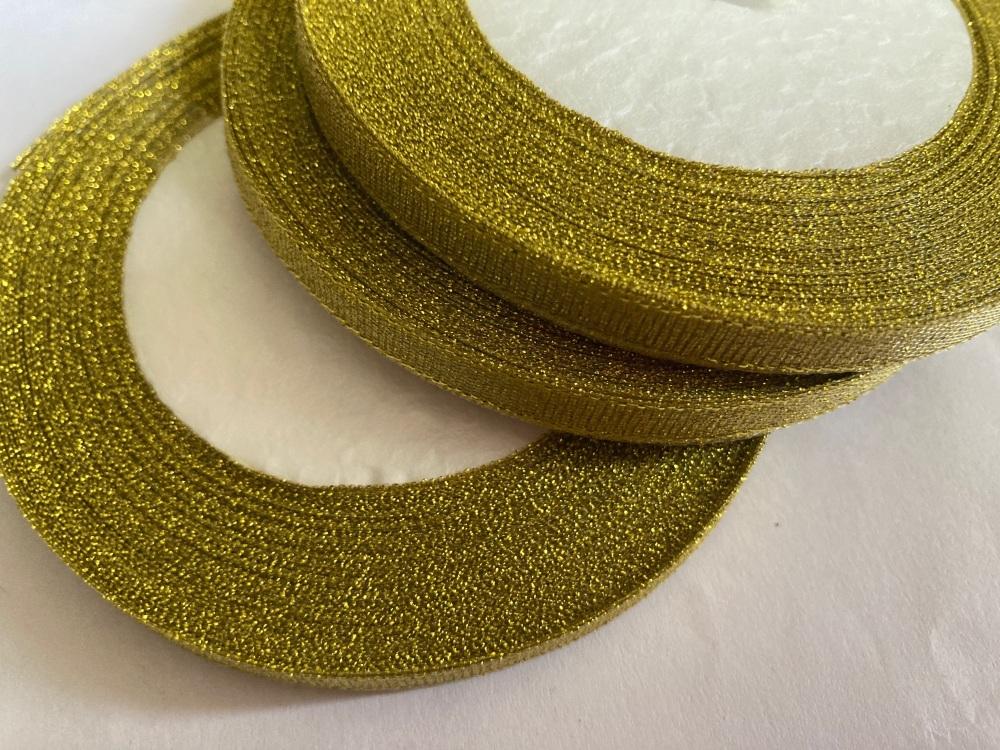 Gold Glitter  Ribbon 10mm FULL ROLL 25 yards/22+metres