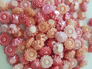 Flower /Pink-Peach Button 16mm - Random Mix - Pack of 15 FL45