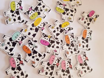Cow Buttons 26x20mm - Random Mix - Pack of 8 MX03