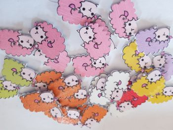 Sheep Buttons 24x16mm - Random Mix - Pack of 8 MX03