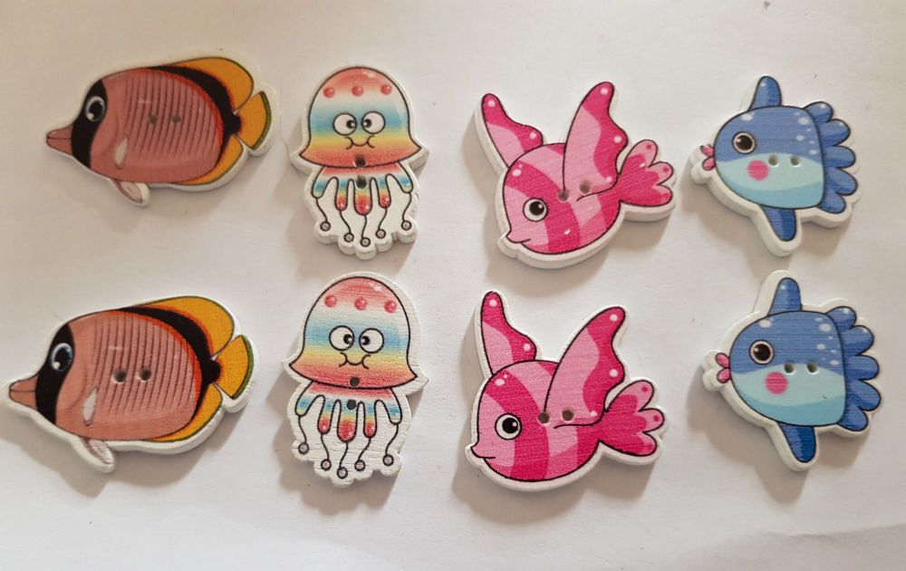 Fish Buttons 35x23mm(largest)  Pack of 8 MX25