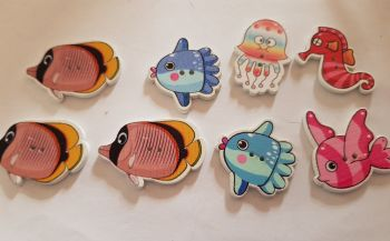 Fish Buttons 35x23mm(largest)  Pack of 8 MX26