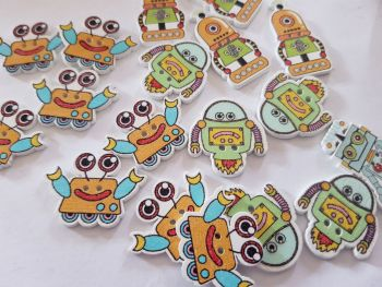 Robot Buttons 32x17mm approx Pack of 9 MX08