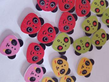 Panda Buttons 22x18mm - Random Mix - Pack of 9 MX15