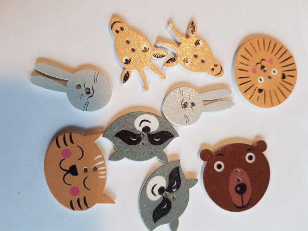 Animal Buttons 30mm(largest) Mix - Pack of 9 MX18