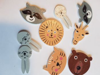 Animal Buttons 30mm(largest) Mix - Pack of 9 MX19