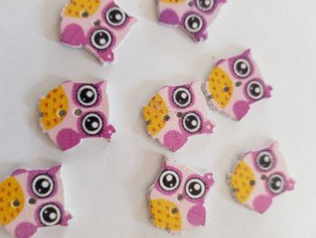 Owl Buttons 16mm  - Pink Pack of 8 WD60