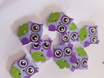Owl Buttons 16mm  - Purple Pack of 8 WD61
