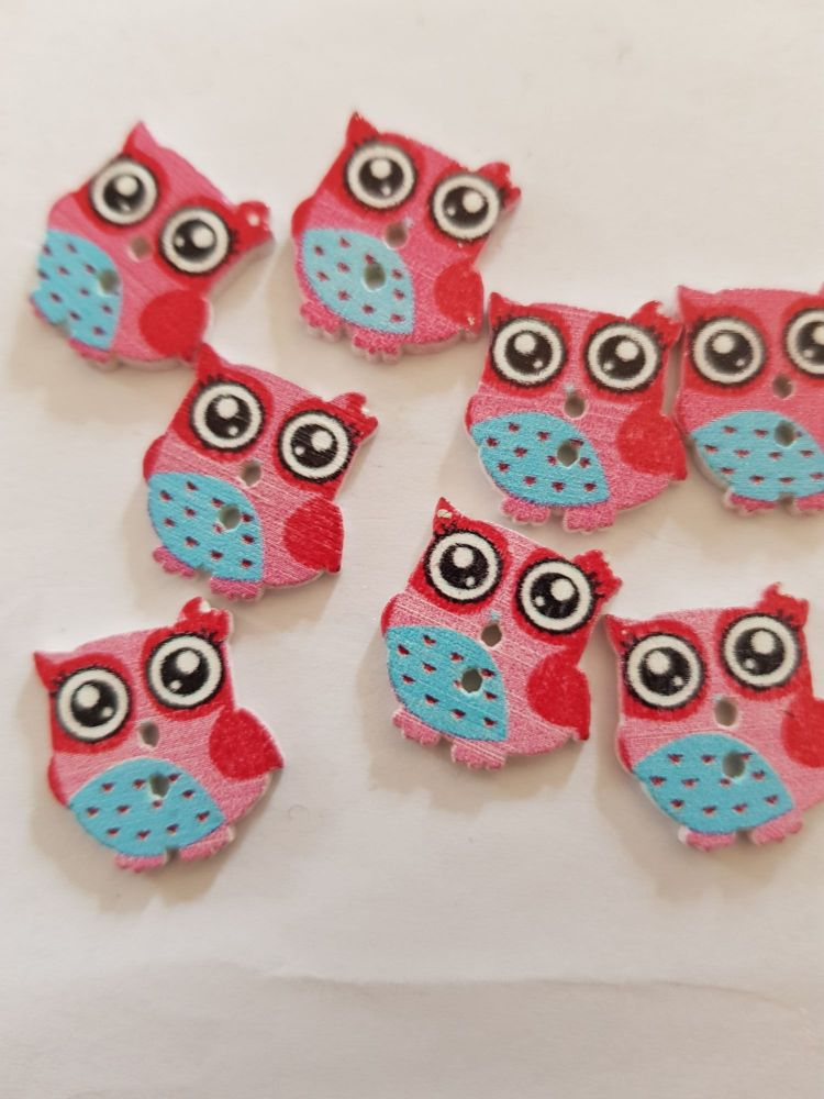 Owl Buttons 16mm  - Pack of 8 WD63