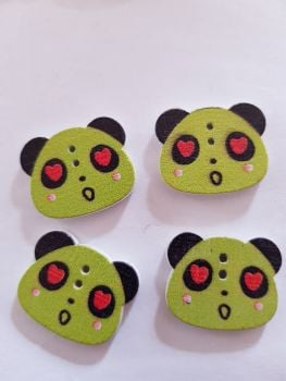 Panda Buttons 22x18mm  - Green - Pack of 8 WD64
