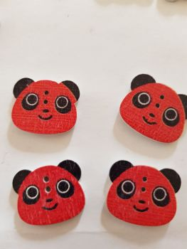 Panda Buttons 22x18mm  - Red - Pack of 8 WD65