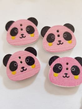 Panda Buttons 22x18mm  - Pink - Pack of 8 WD66