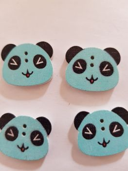 Panda Buttons 22x18mm  - Blue - Pack of 8 WD67