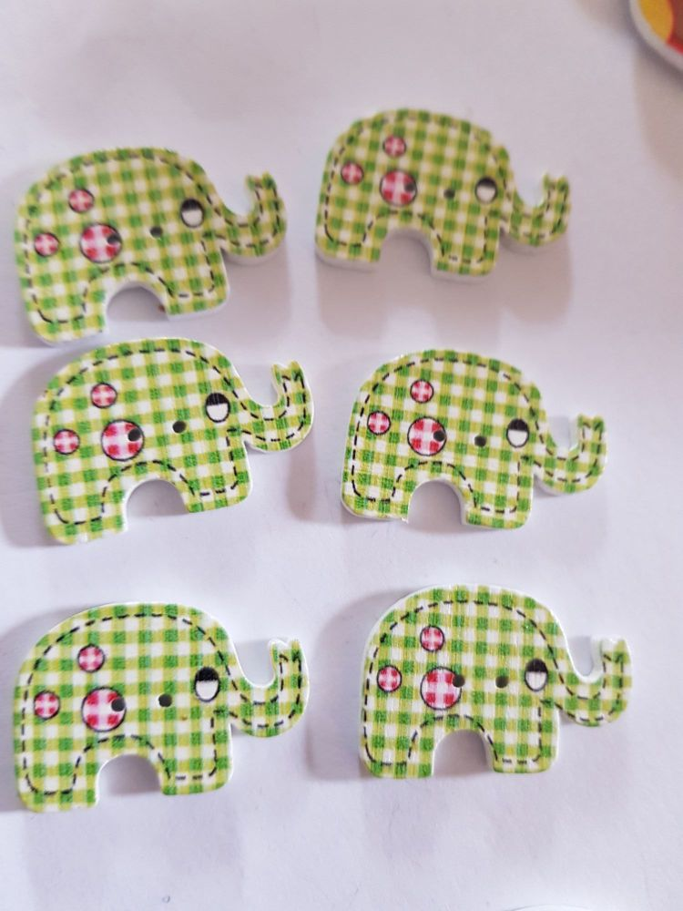 Elephant Buttons 28x19mm - Pack of 6 WD78
