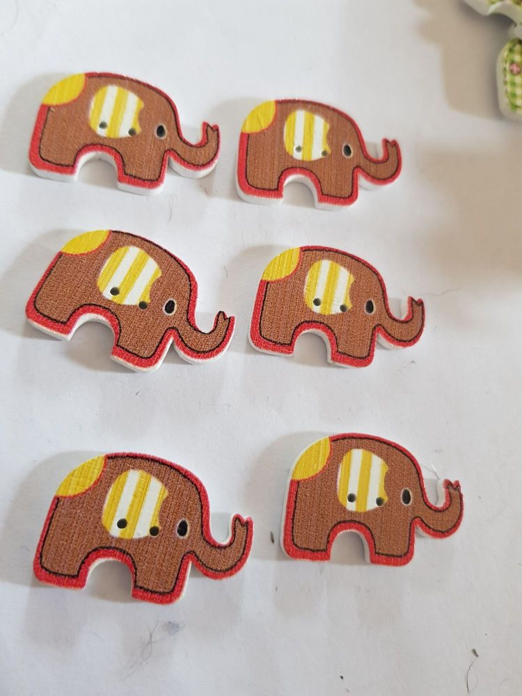 Elephant Buttons 28x19mm - Pack of 6 WD79