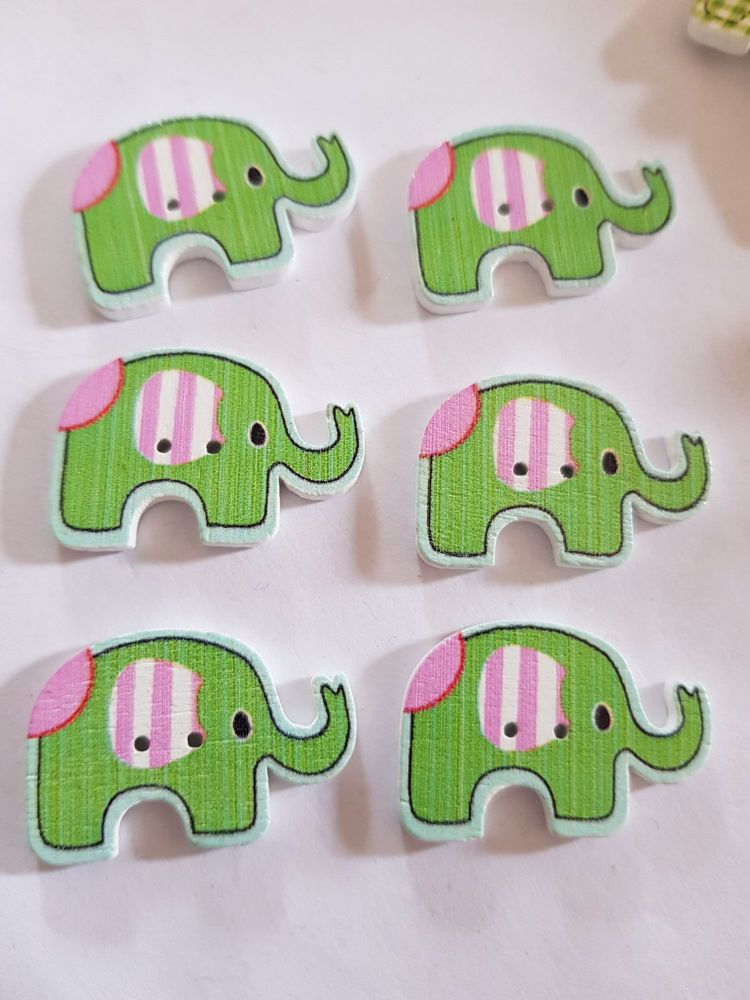 Elephant Buttons 28x19mm - Pack of 6 WD80