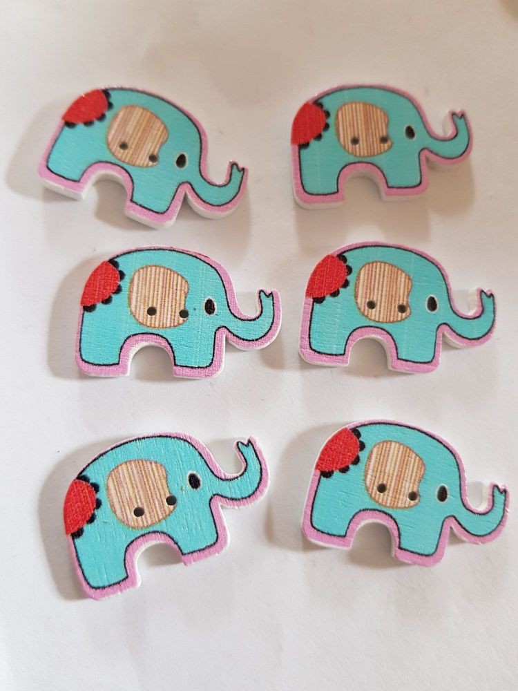 Elephant Buttons 28x19mm - Pack of 6 WD77