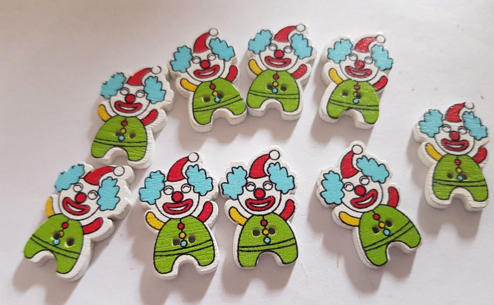 Clown Buttons 28x17mm Pack of 9 WD81