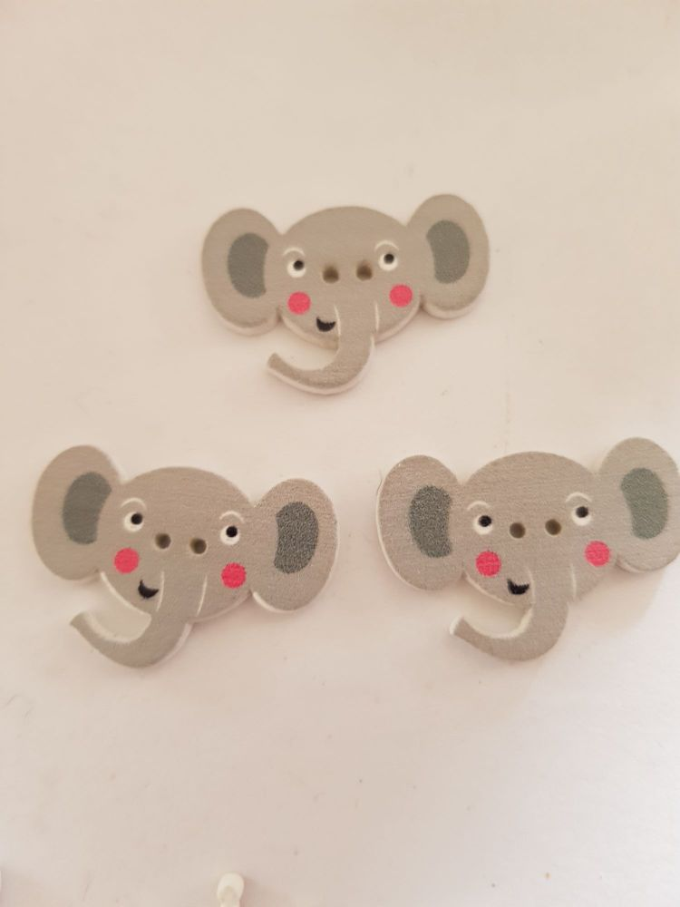 Elephant Buttons 30x20mm Pack of 6 WD82