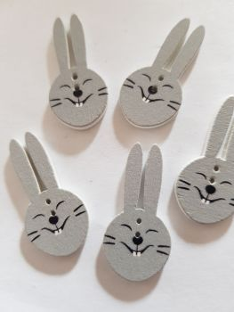 Rabbit/Hare Buttons 30x15mm Pack of 6 WD84