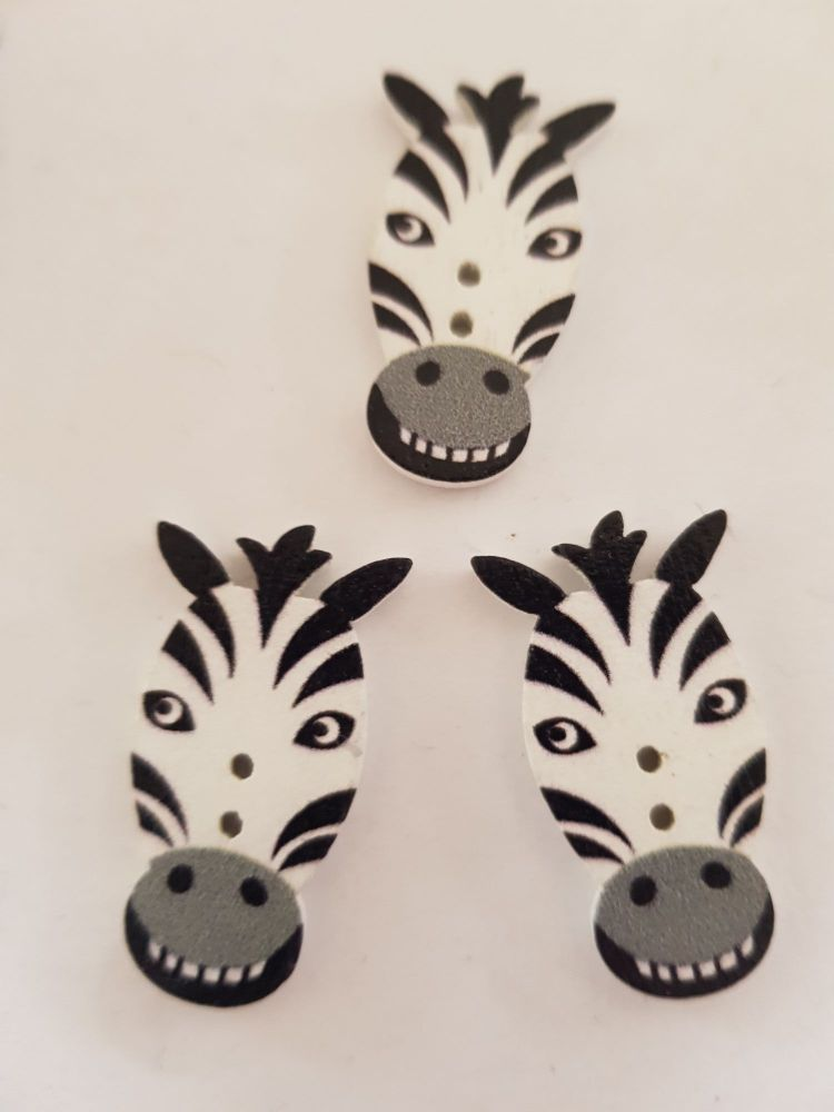 Zebra  Buttons 30x15mm Pack of 6 WD86
