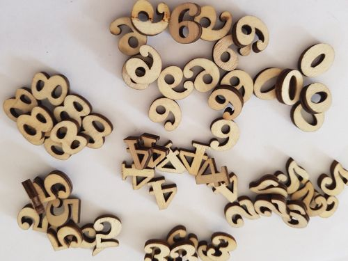Numbers 0-9 Mdf/Wooden Pack of 10