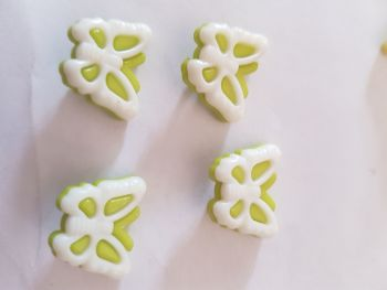Butterfly Buttons 18x14mm-Lime Green  Pack of 10