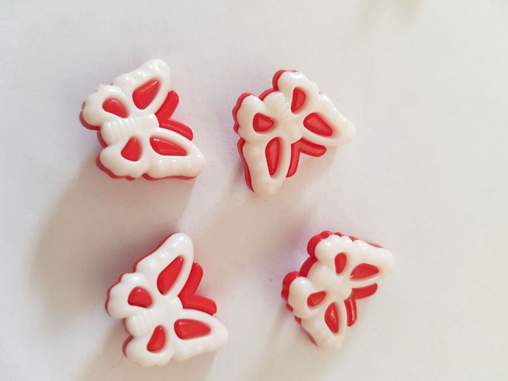 Butterfly Buttons 18x14mm--Red Pack of 10