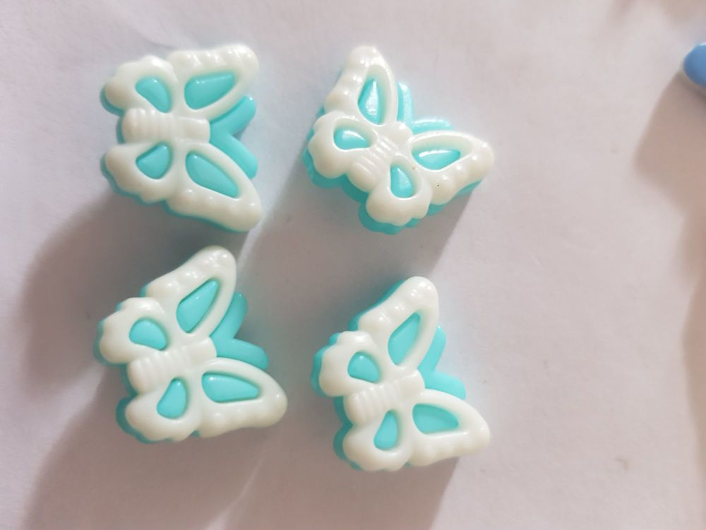 Butterfly Buttons 18x14mm- Turquoise Pack of 10