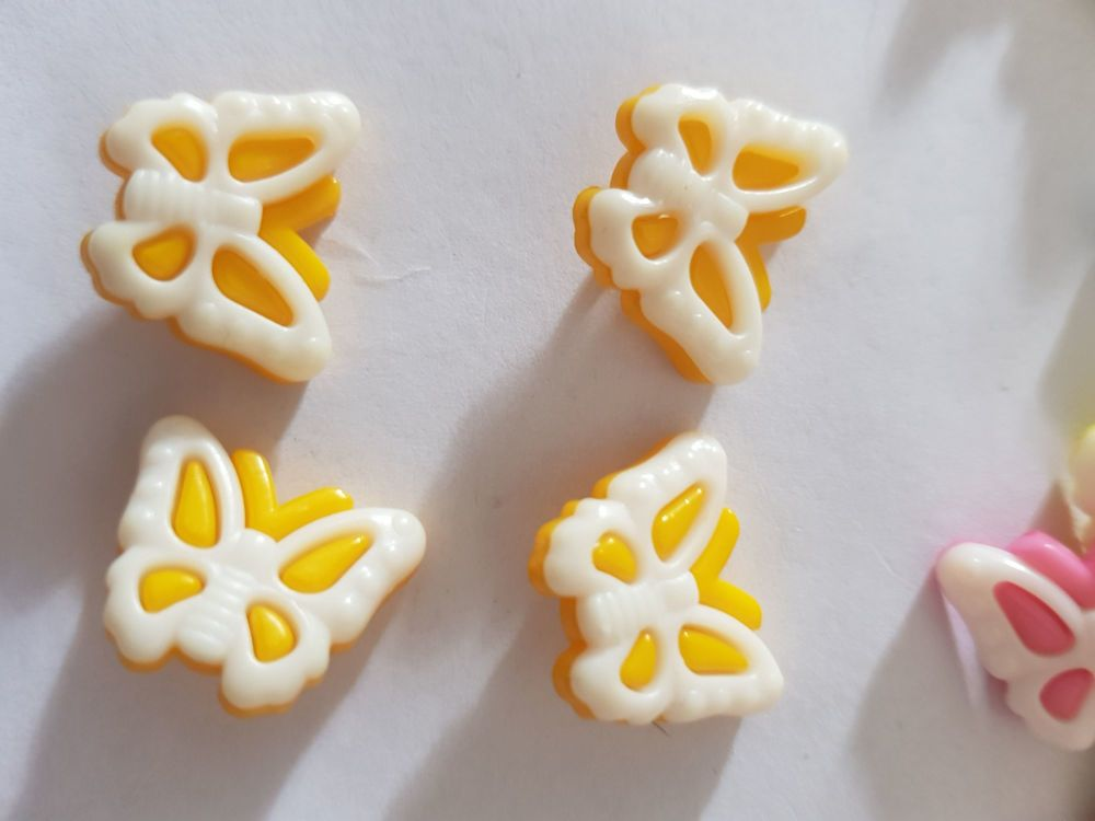 Butterfly Buttons 18x14mm- Yellow /Darker Pack of 10