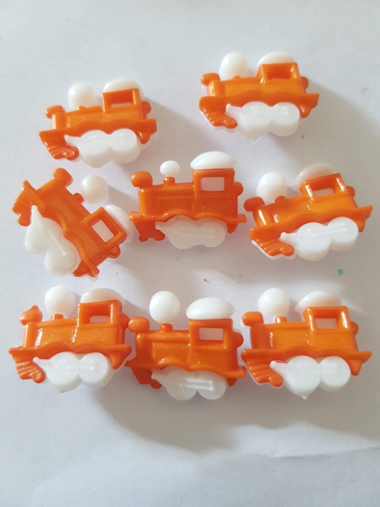 Train Buttons 20x15mm- Orange Pack of 8