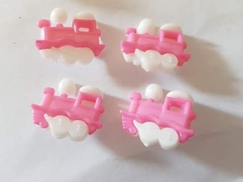 Train Buttons 20x15mm- Pink Pack of 8