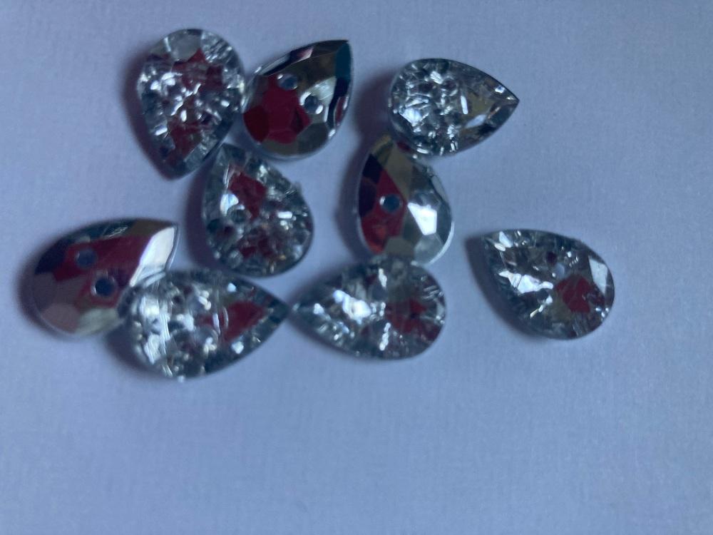 Clear / Silver Back Teardrop Glittery Button 11x15mm (Pack of  12)
