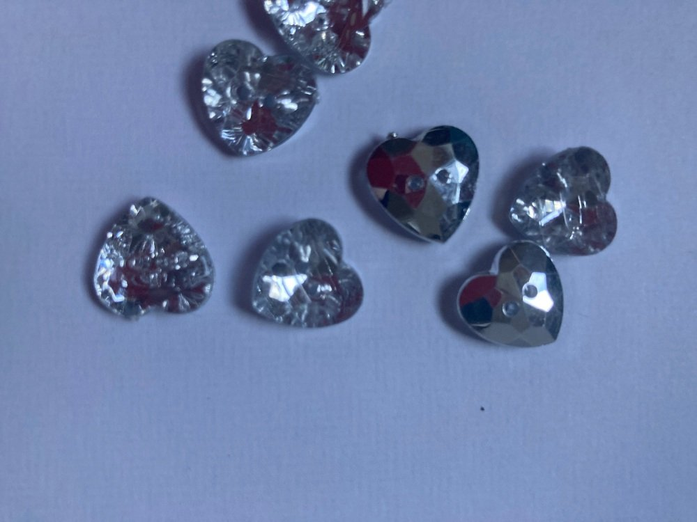 Clear / Silver Back Heart Glittery Button 12mm (Pack of  12)