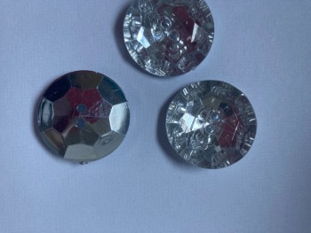 Clear / Silver Back Round Glittery Button 25mm (Pack of  3)