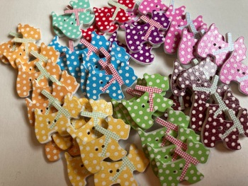Dog Wooden Buttons 27x22mm -Random Mix(Pack of 8) AB07