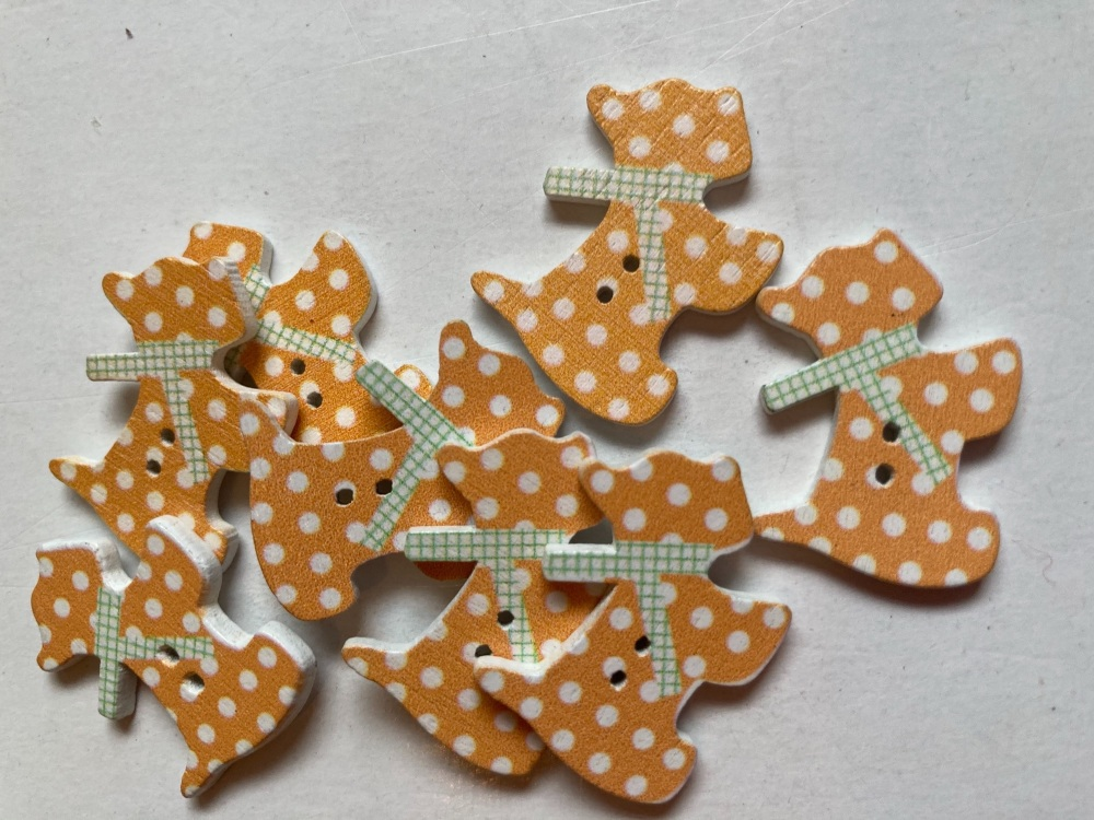 Dog Wooden Buttons 27x22mm -Light Orange (Pack of 8) AB08