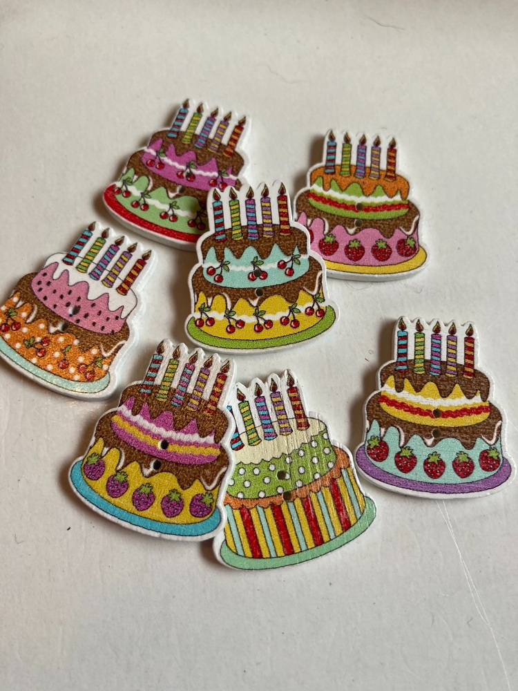 Cake / Birthday Buttons  27x30mm Random Mix (Pack of 6) AB10