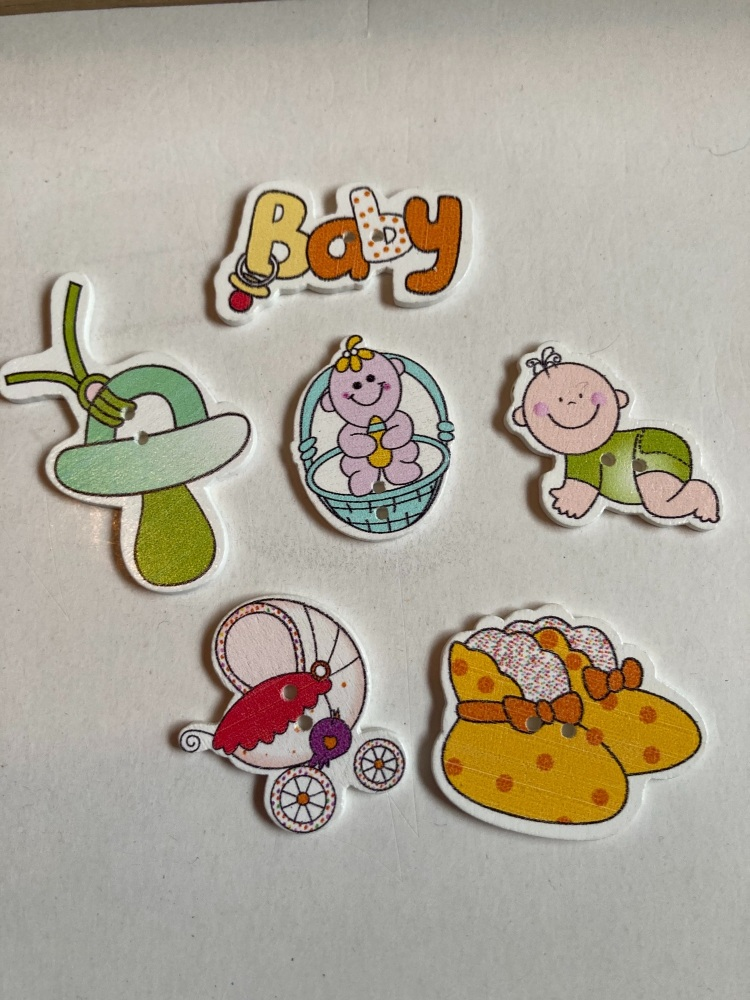 Baby Buttons / Embellishments Pack of 6 AB11