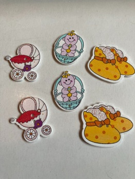 Baby Buttons / Embellishments Pack of 6 AB13