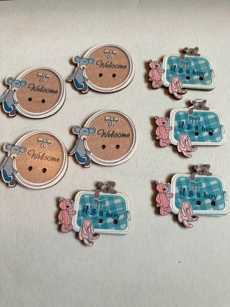 Baby Buttons / Embellishments Pack of 6 AB15