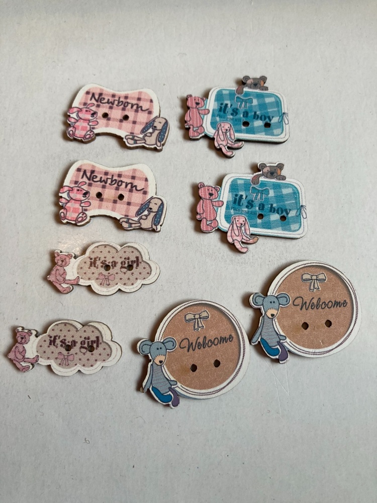 Baby Buttons / Embellishments Pack of 8 AB17
