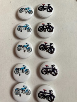 Bike / Bicycle Wooden Buttons 15mm  Pack of 10 CD04