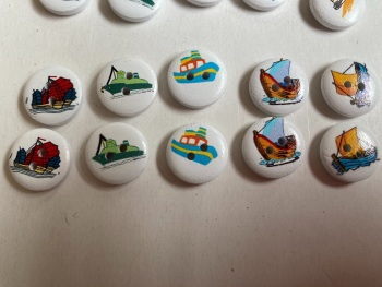 Boats Wooden Buttons 15mm  Pack of 10 CD05