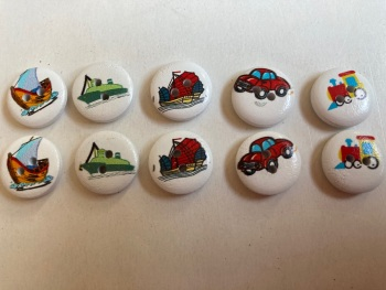 Mixed Transport Wooden Buttons 15mm  Pack of 10 CD07