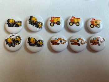 Construction Transport Wooden Buttons 15mm  Pack of 10 CD08