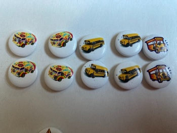 Bus Wooden Buttons 15mm  Pack of 10 CD09
